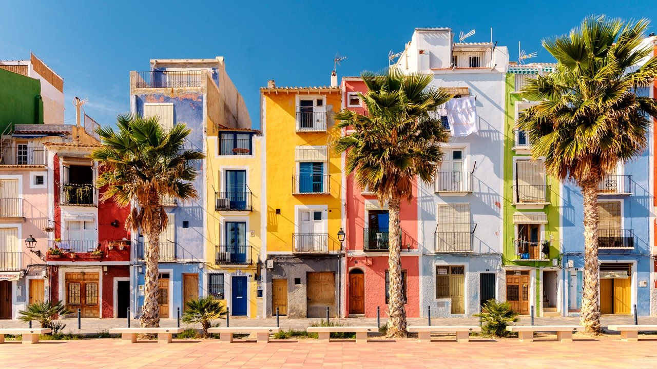 Coloured houses in Villajoyosa