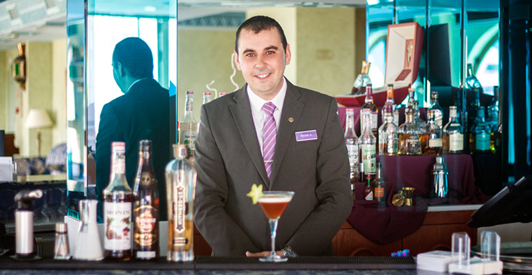 Barman Montíboli with his cocktail